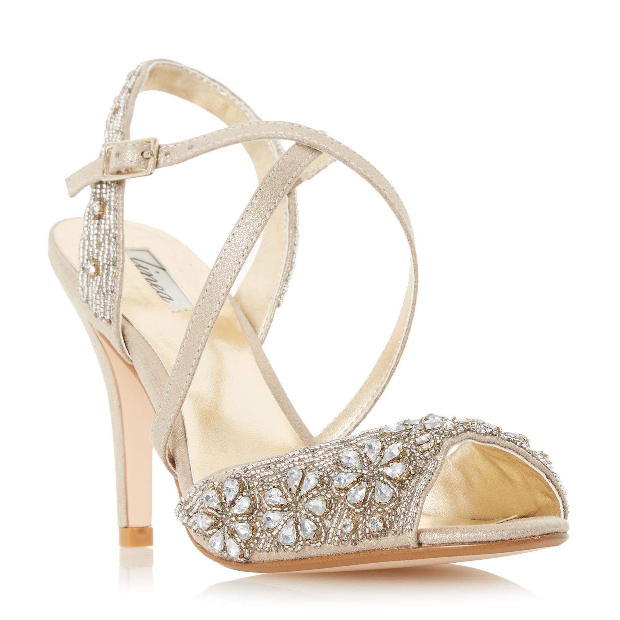 809f7d071f3 Linea Molana embellished cross strap high heel sandals, Gold ...