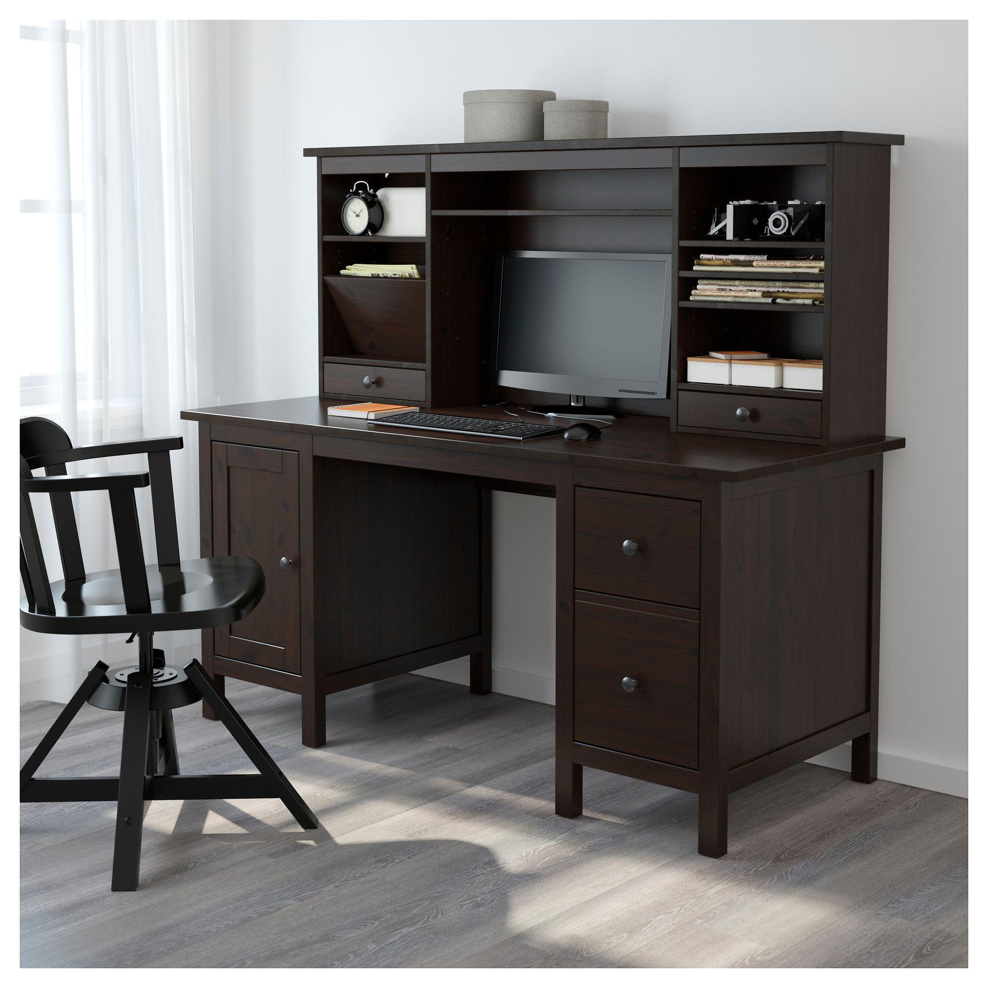 ikea hemnes desk with add on unit black brown products hemnes rh pinterest es