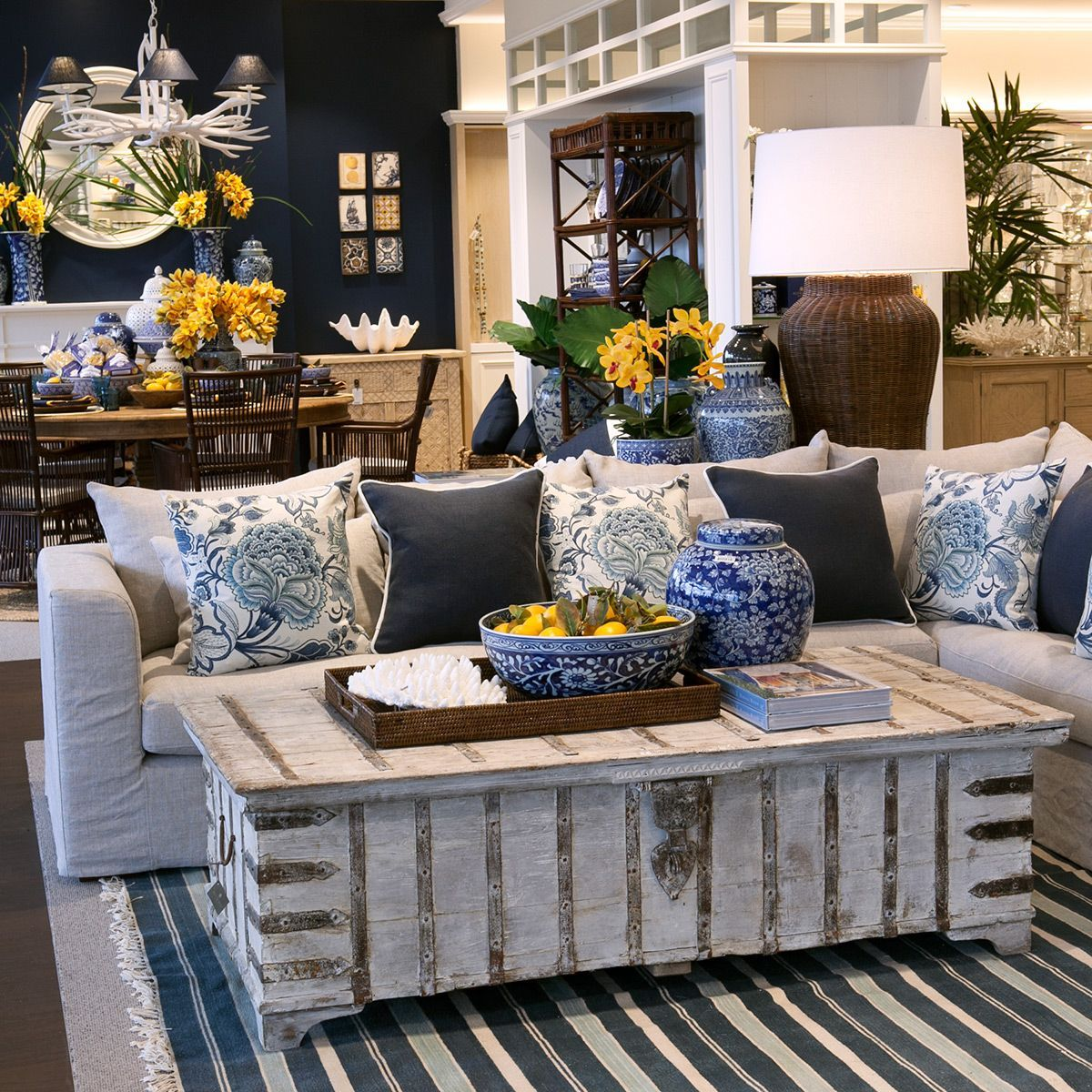 Blue And White Decor With Pops Of Yellow Blue Living