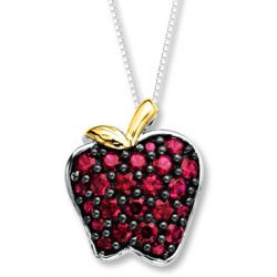 Apple Necklace Lab Created Rubies Sterling Silver 10K Gold