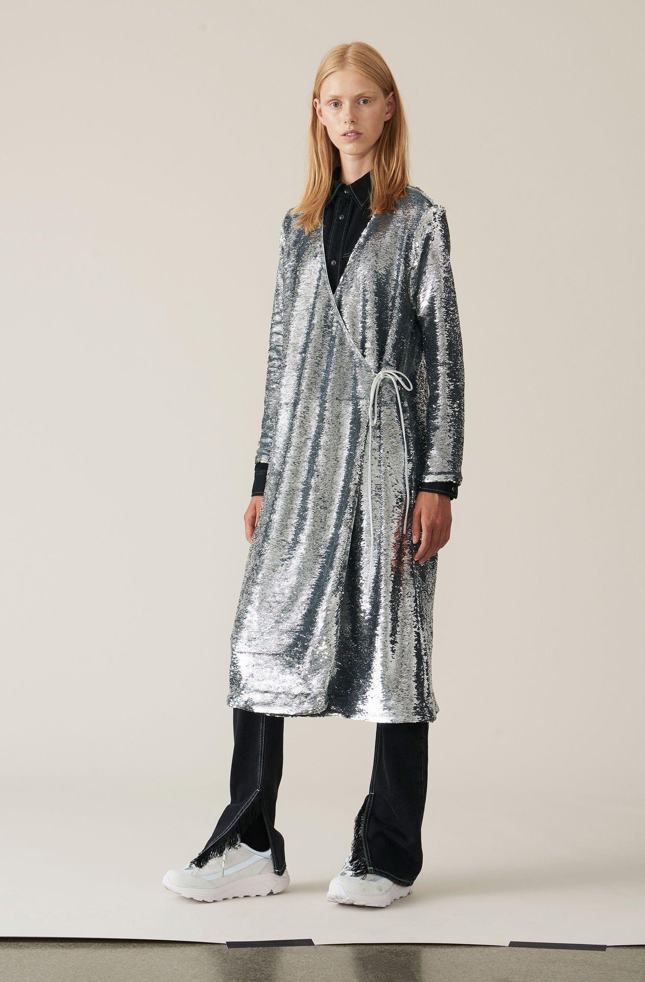 Sequins Wrap Dress, Silver Wrap dress, Dresses, Sequins