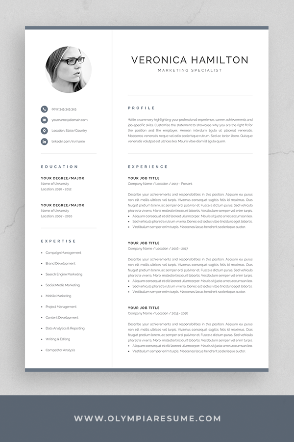 Professional Cv Template With Photo Modern Photo Resume Etsy Lebenslauf Lebenslauf Vorlagen Word Lebenslauf Design Vorlage