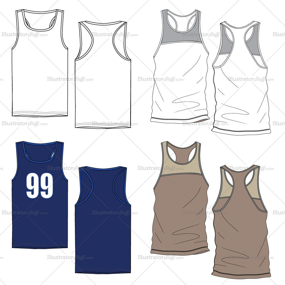 Men S Tank Top Fashion Flat Templates In 2019 Mens Sweater