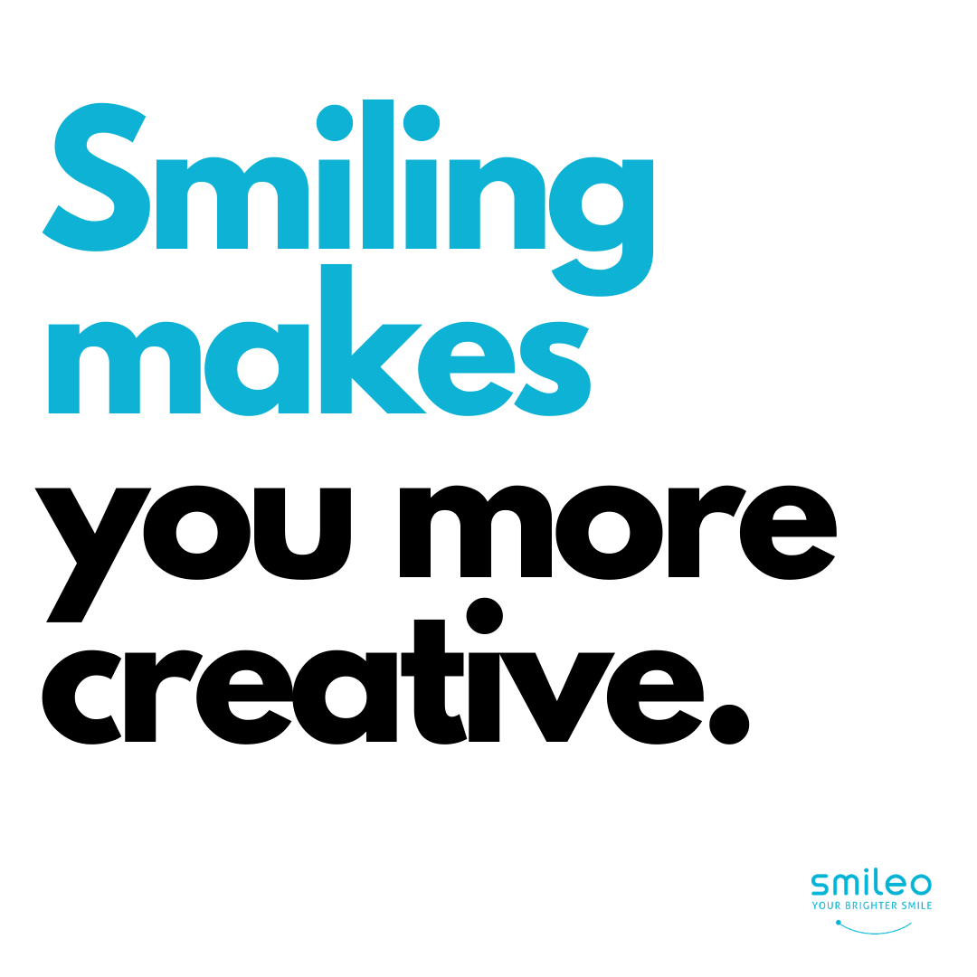 Did you know that Smiling makes you more creative? #Brighterteeth #smileo #TeethWhitening #OralCare #Beauty #BeautyProducts #NaturalProducts #AllNatural #AtHomeWhitening #BrighterSmile #VeganProduct #OralCosmetics #CrueltyFree #CrueltyFreeBeauty #CrueltyFreeCosmetics #OralCareRoutineBeautyProducts #facts #beautyfacts #smilingisattractive #smilingmakesyoumorecreative #creative