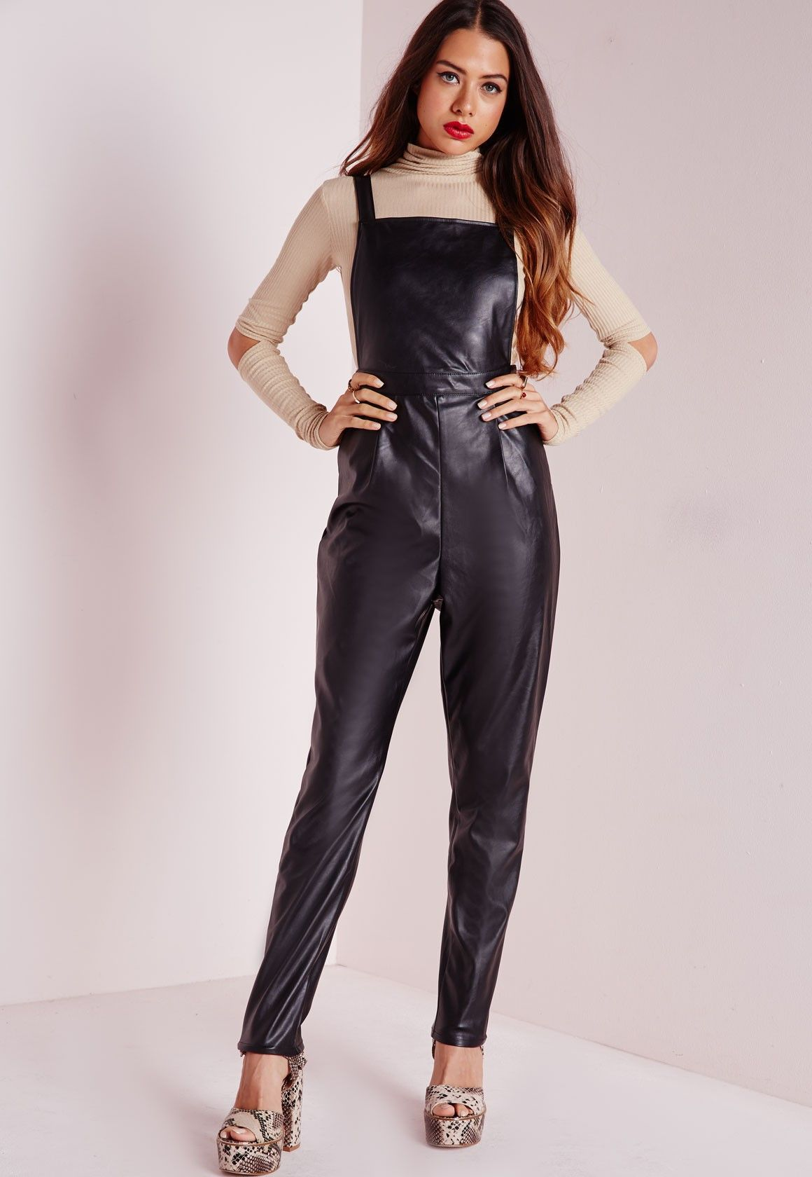 super cheap latest united kingdom Missguided - Faux Leather Overalls Black | Things to Wear ...