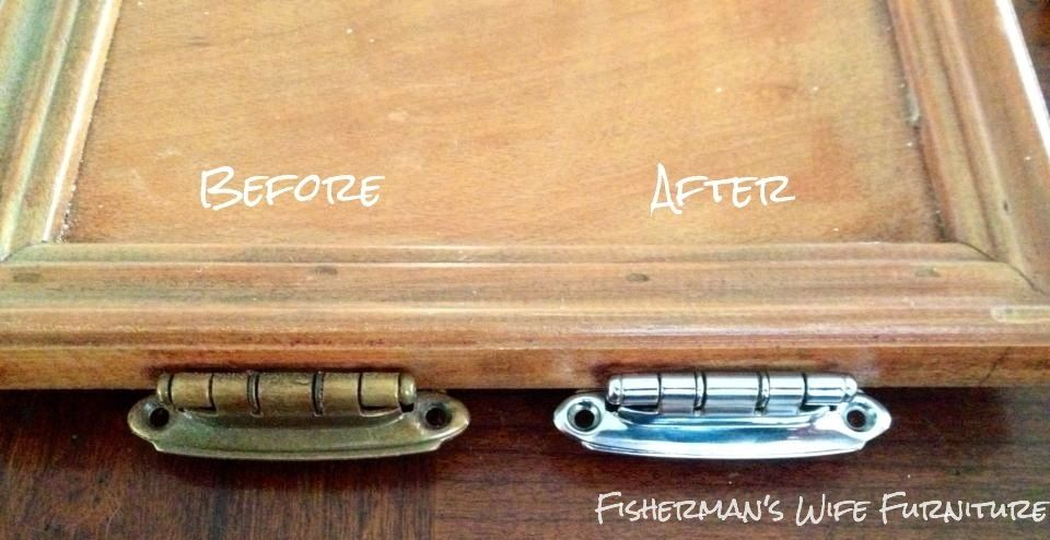 Before And After Chrome Plated Kitchen Cabinet Hinges Fisherman S Wife Furniture Featured On Remodelaholic