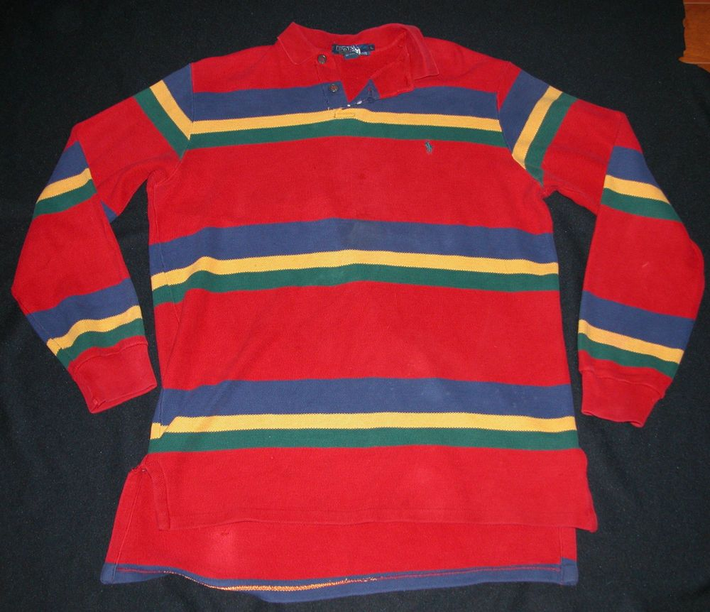 Vtg 80s Polo By Ralph Lauren Rugby Shirt Striped Red Blue Yellow Green Mens L Clothing Shoes Accessories Men S Athletic Arel Ebay