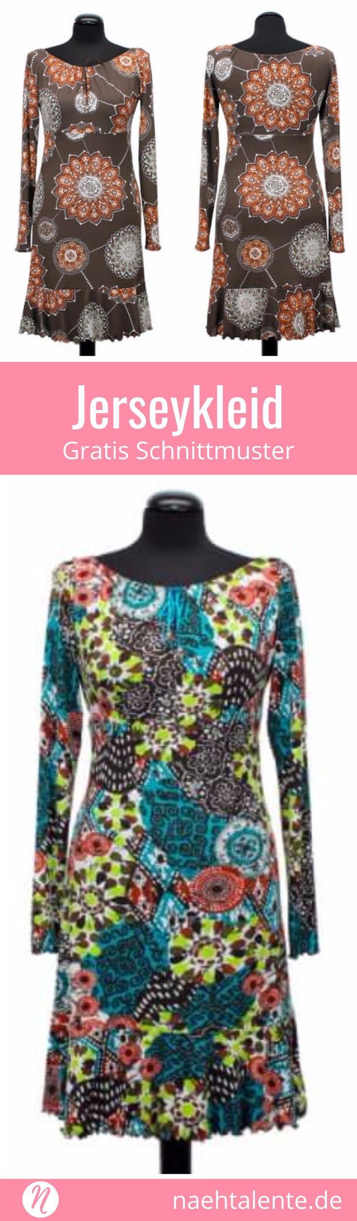 Jerseykleid mit Volant-Saum in Größe 36 - 52 #blousesewingpattern