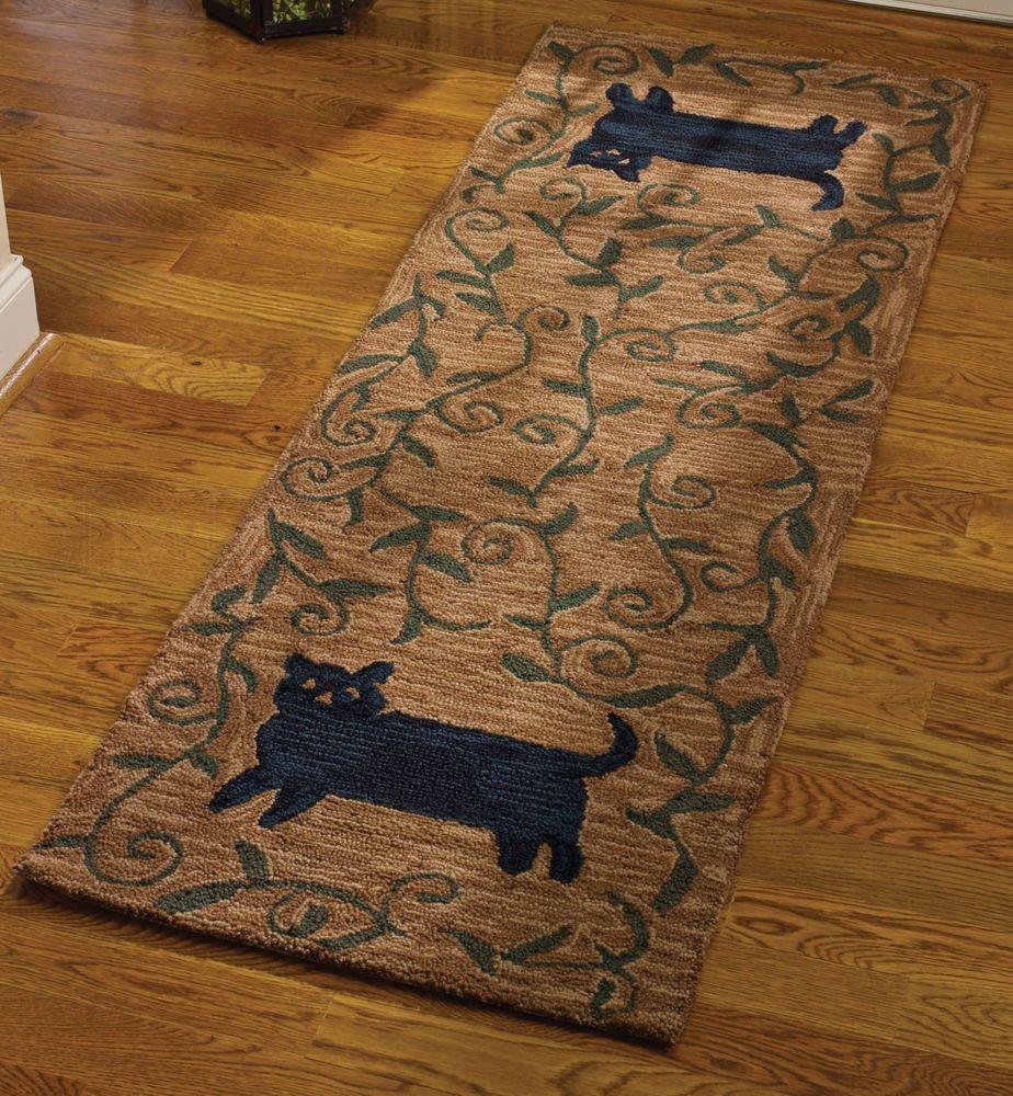 New Primitive Country Folk Art Black Cat Wool Hooked Rug Runner Area Floor Mat Rug Runner Rugs Rug Hooking