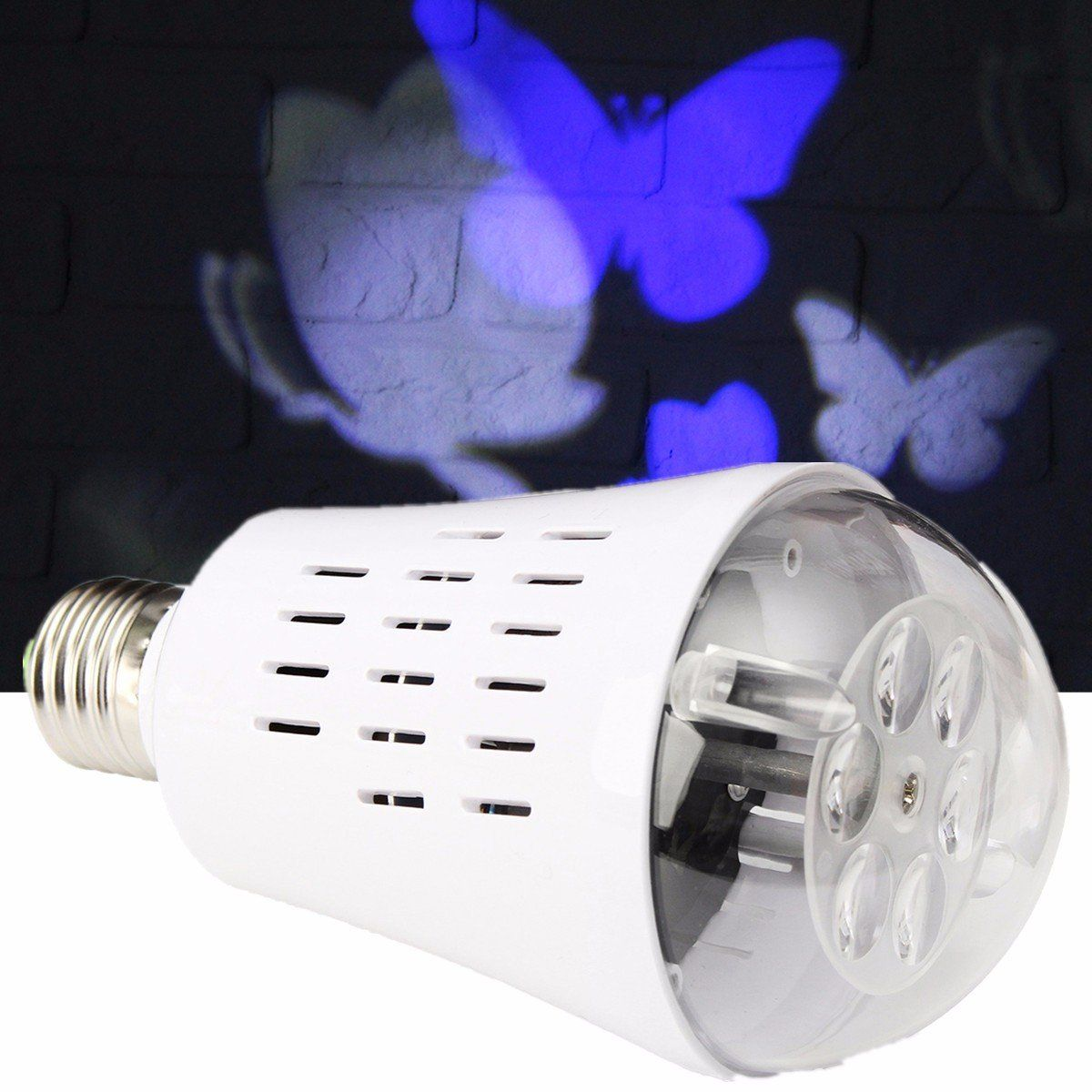 E27 4w Blue White Butterfly Led Rotating Projector Stage Light Spot Fluorescent Lamp Driver Bulb For Holiday Decor