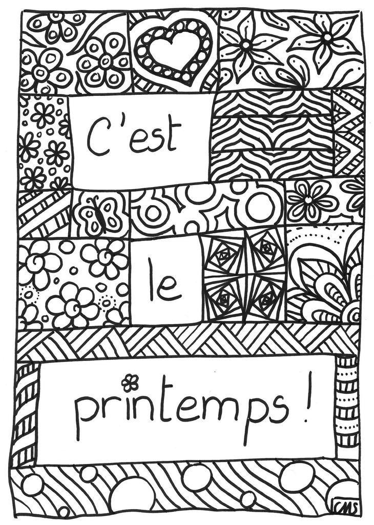 Coloriage De Printemps Primaire.Coloriage C Est Le Printemps Arts Et Brico Coloriage