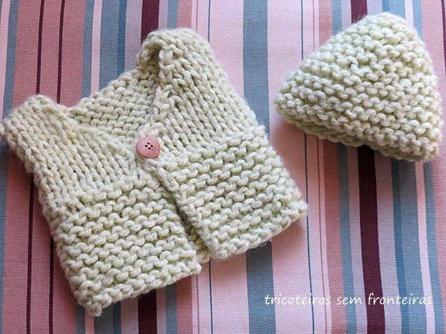 d2024fedb759 Receita de Tricô: Colete e gorro em trico para recém nascido   trico ...
