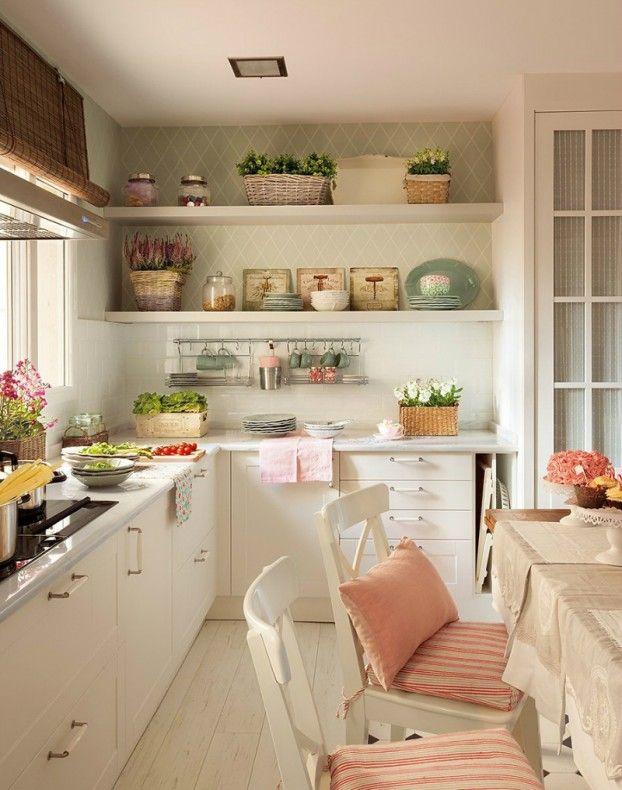 cocina-mobiliario-blanco-toques-rosa-estilo-romantica | Cocina ...