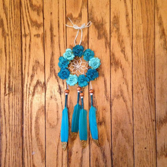 """3"""" Floral and Glitter Blue Dream Catcher found on dreamden.etsy.com"""