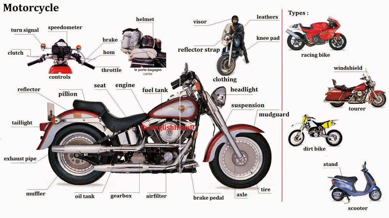 Motorcycle Parts With Images English Vocabulary English For