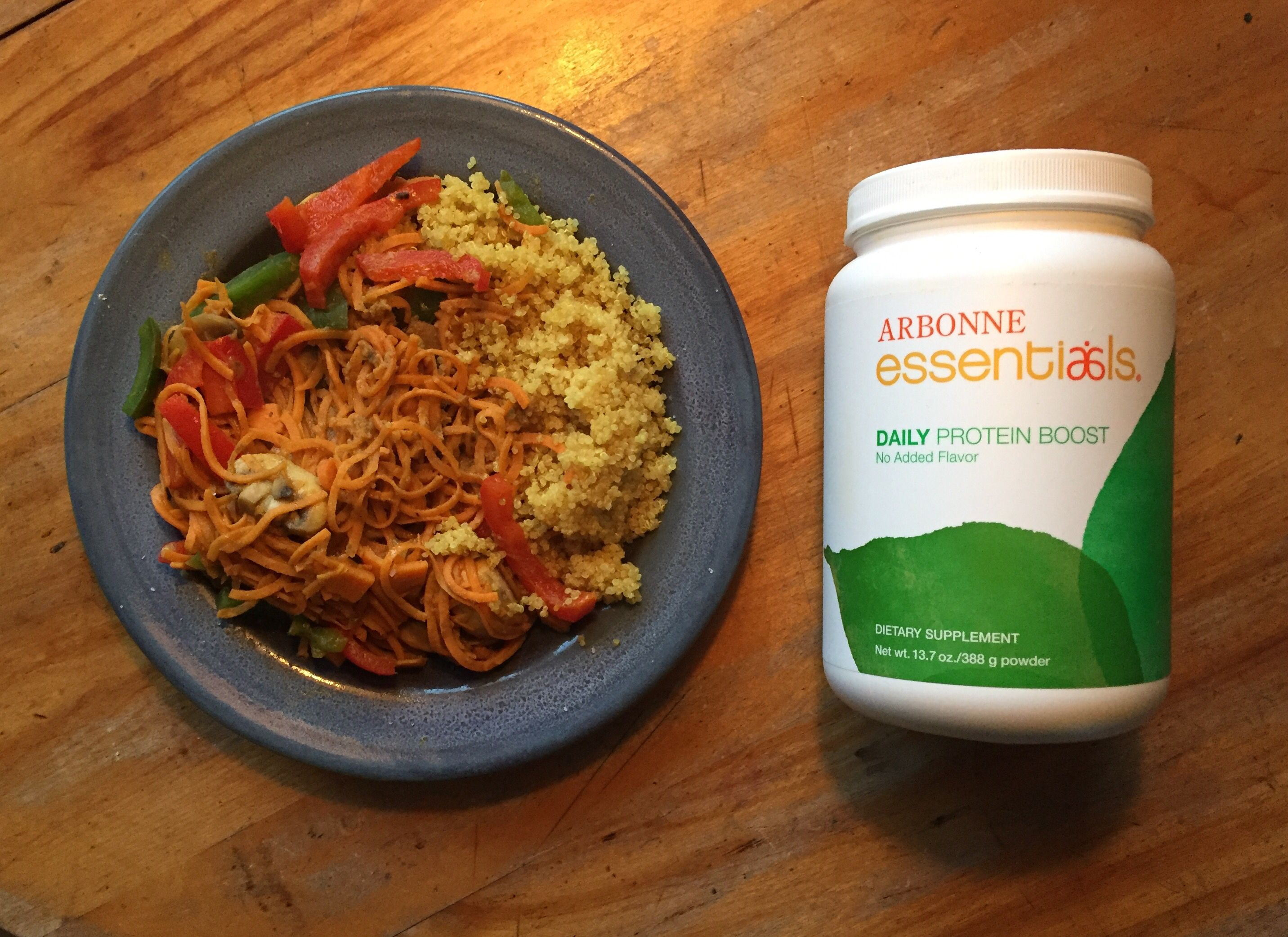 Sugar-free vegan protein powder added to curried veggies and turmeric quinoa. Awesome!