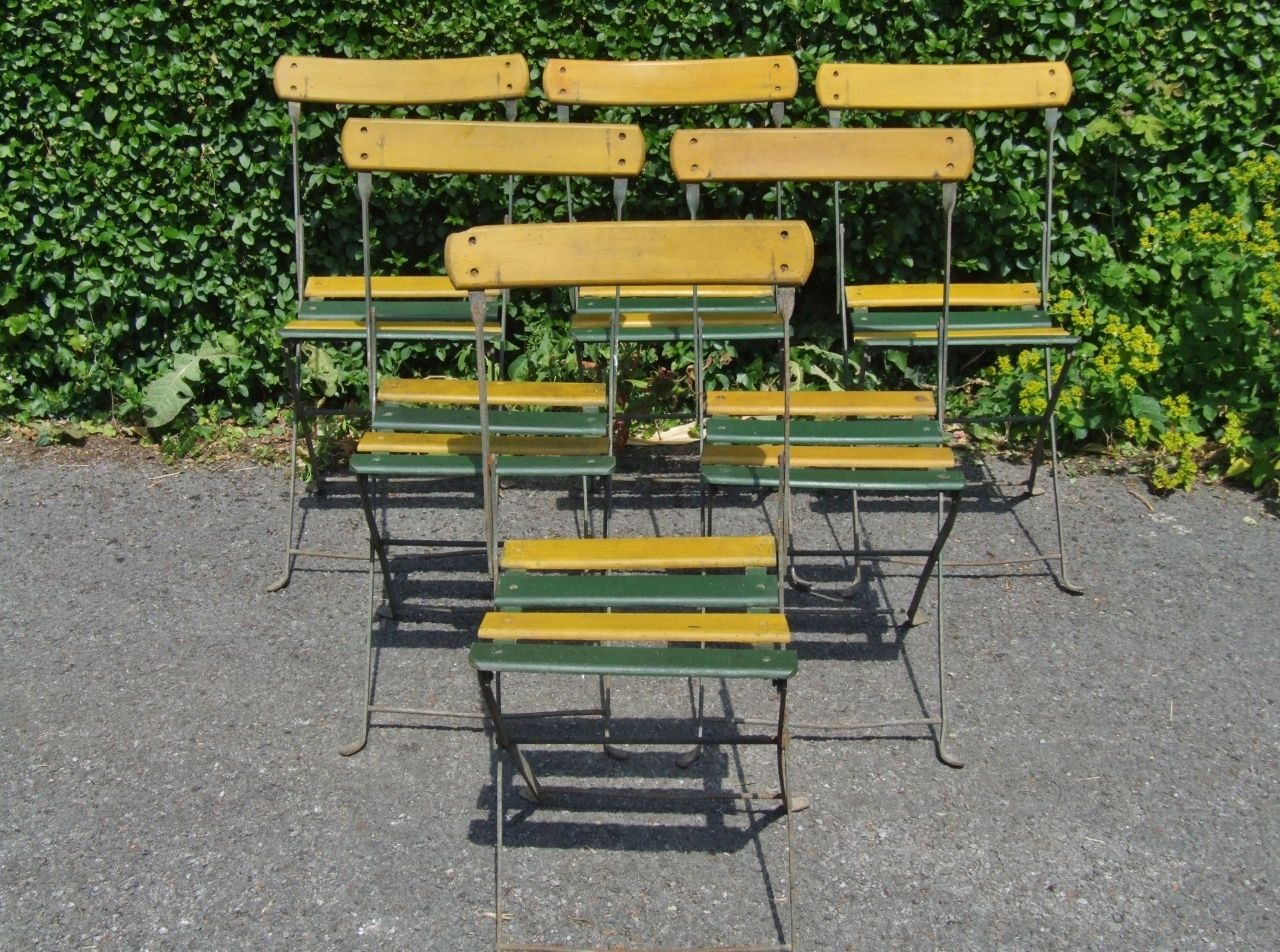 French cafe chairs table - G288 Set 6 Vintage French Folding Garden Patio Cafe Chairs La Belle