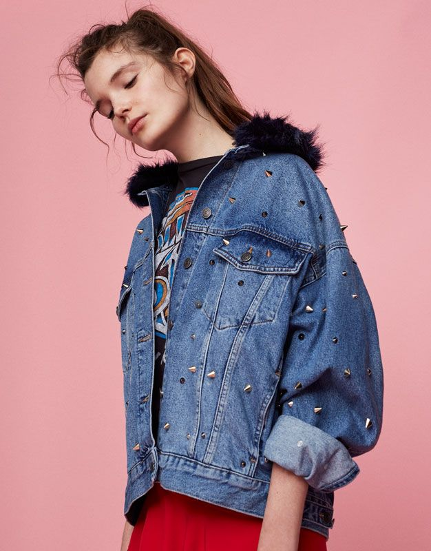 cc64942415a Pull&Bear - woman - new - studded denim jacket - blue - 05716301-V2017