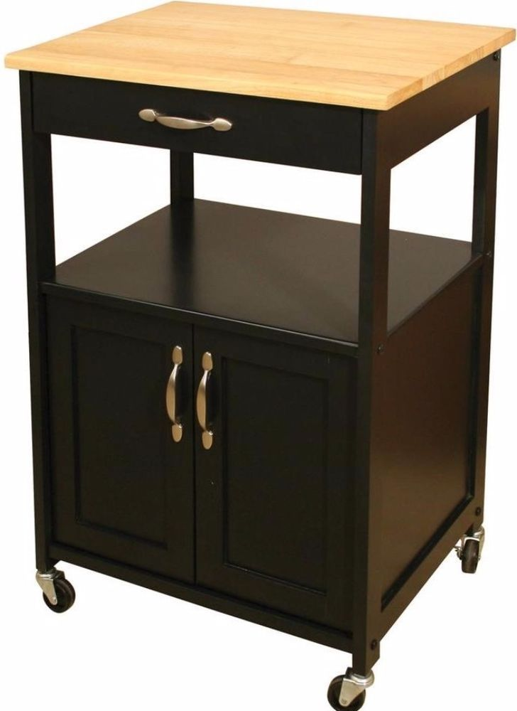 kitchen cart with storage cabinet and drawer black finish