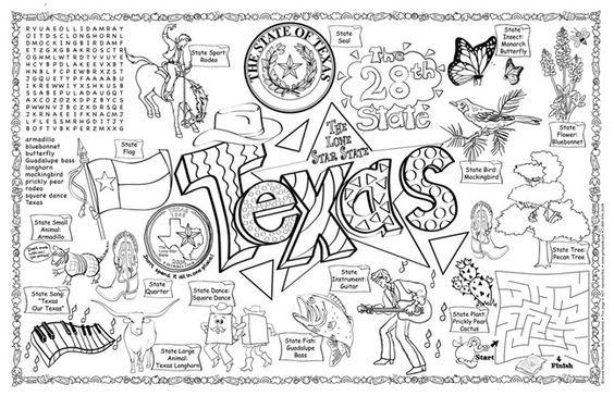 Coloringbookarea Com Texas Symbols Texas Theme 4th Grade Social Studies