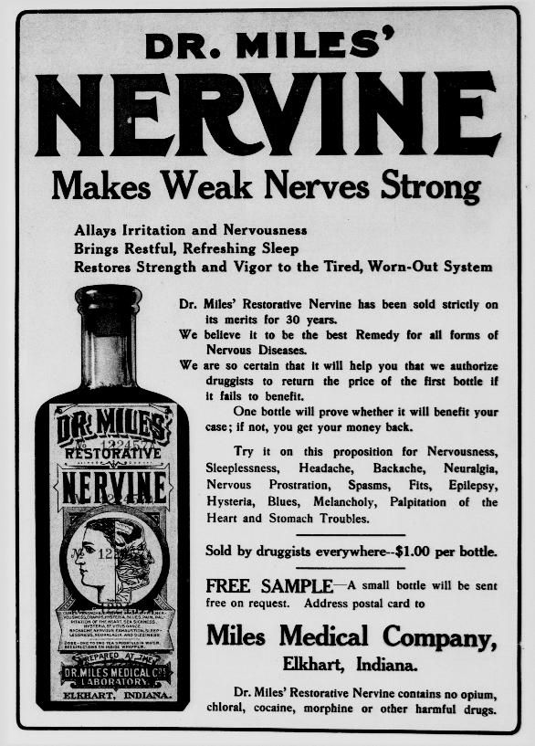 Vintage Ads, nervous women, Dr Miles Nervine Bottle, What's in it