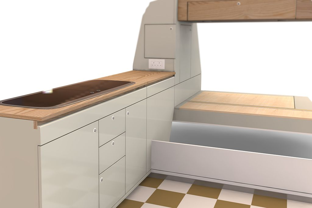 b80d8fbe57 Interiors for VW T25 campervans – Dubteriors maple and wenge Woody design  and Maude lacquered cream cupboards with real wood worktops. Flat pack  interior