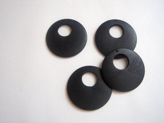 4 Wooden Pendants black by Gshop8 on Etsy, $2.90