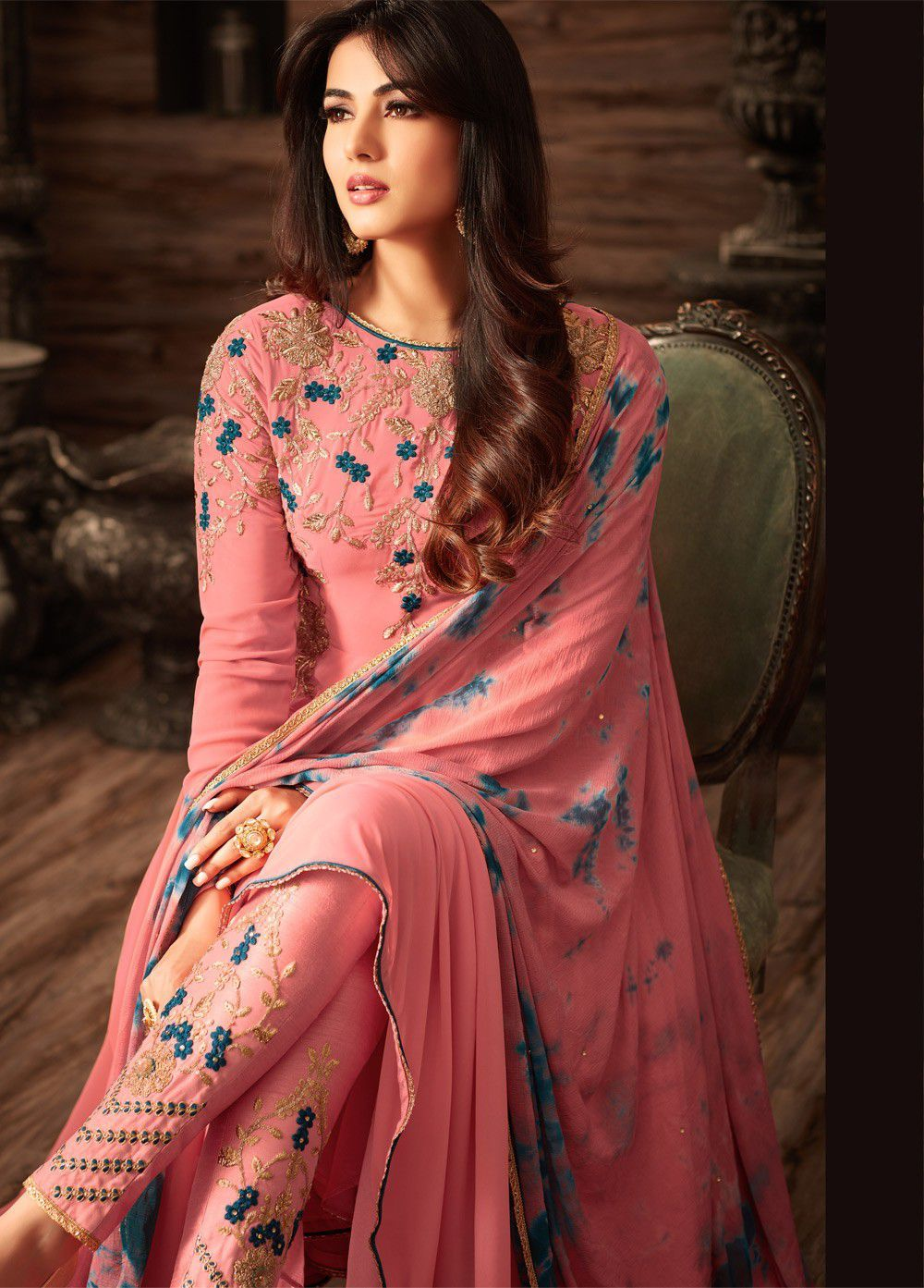 0f8b07bb2 Buy Sonal chauhan pink georgette anarkali 4808 online in USA