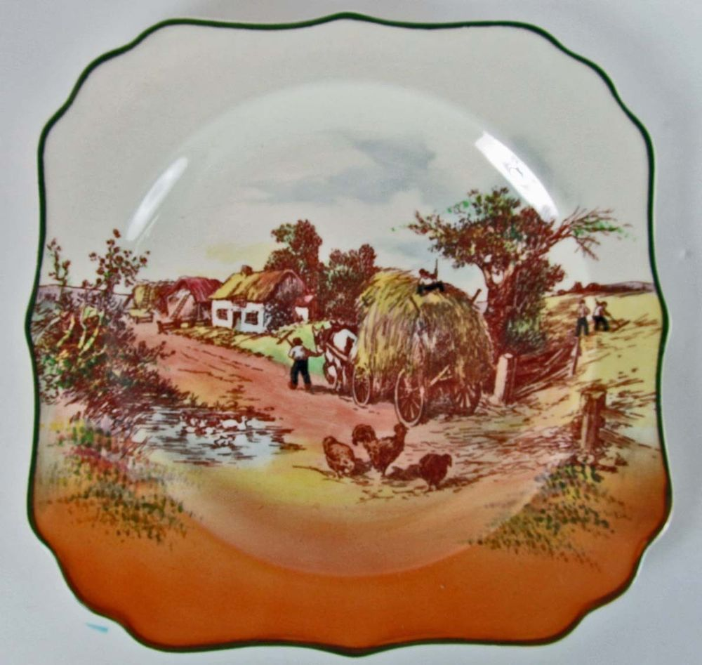 Royal Doulton Series Ware Rack Plate Square \u0027Rustic England\u0027 Hay Wagon D6297 : square decorative plates - pezcame.com