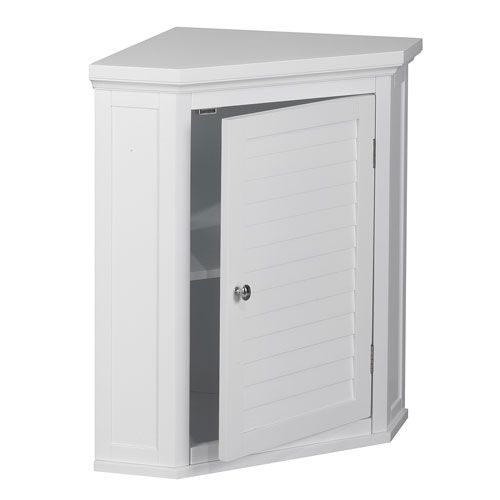 Slone Corner Wall Cabinet with One Shutter Door in White ...