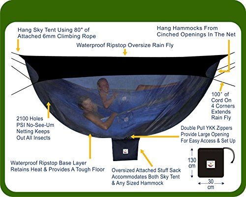 Hammock Bliss Sky Tent 2 A Revolutionary Tent For 1 Or 2 Hammocks Off The Ground Stay Dry From The Rain Safe From The Bugs With 2 Person Hammock Tent Tent Hanging Tent