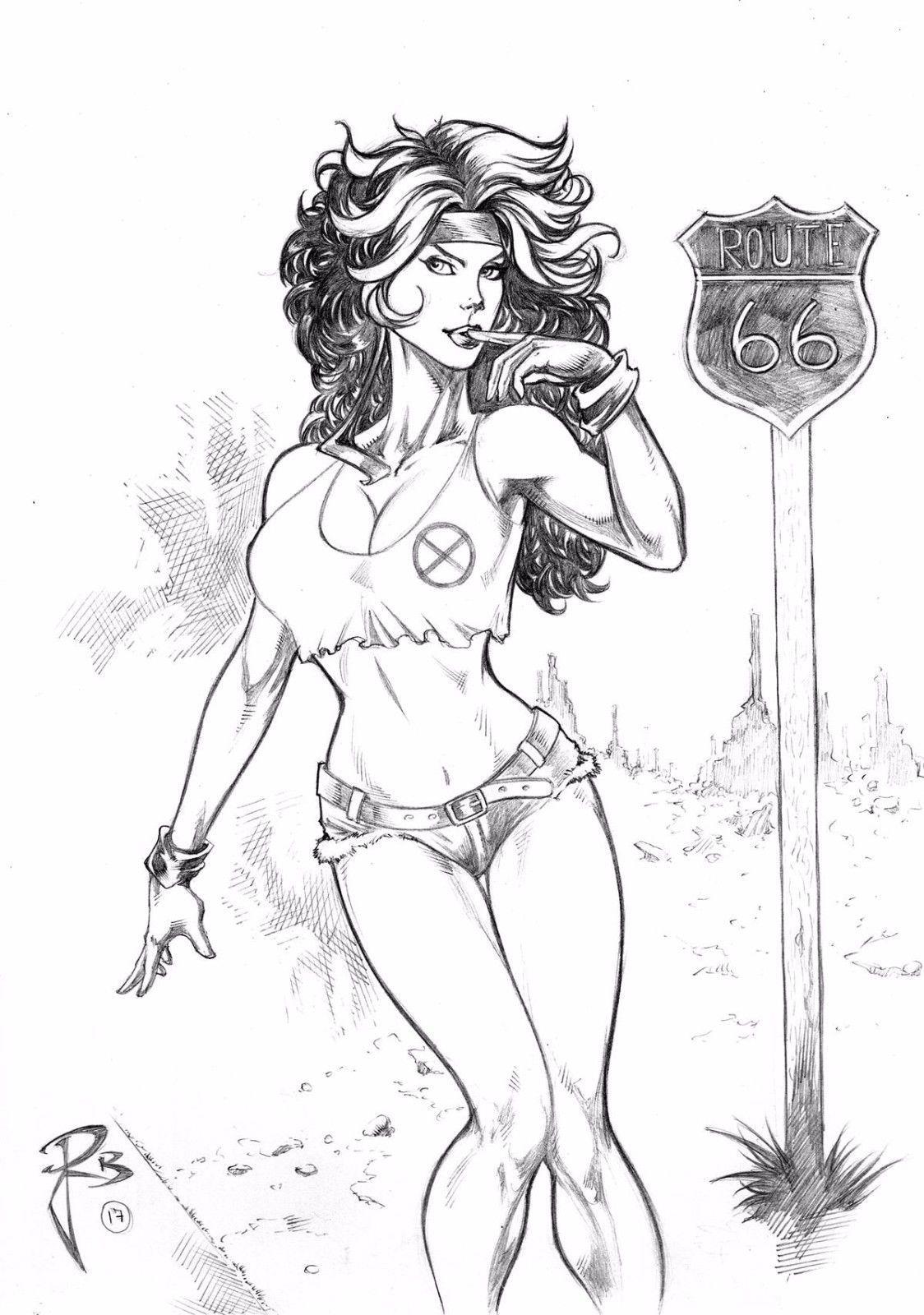 Rogue 09 X 12 By Jailton Rabelo Ed Benes Studio Ebay Rogues Drawings Super Heroine