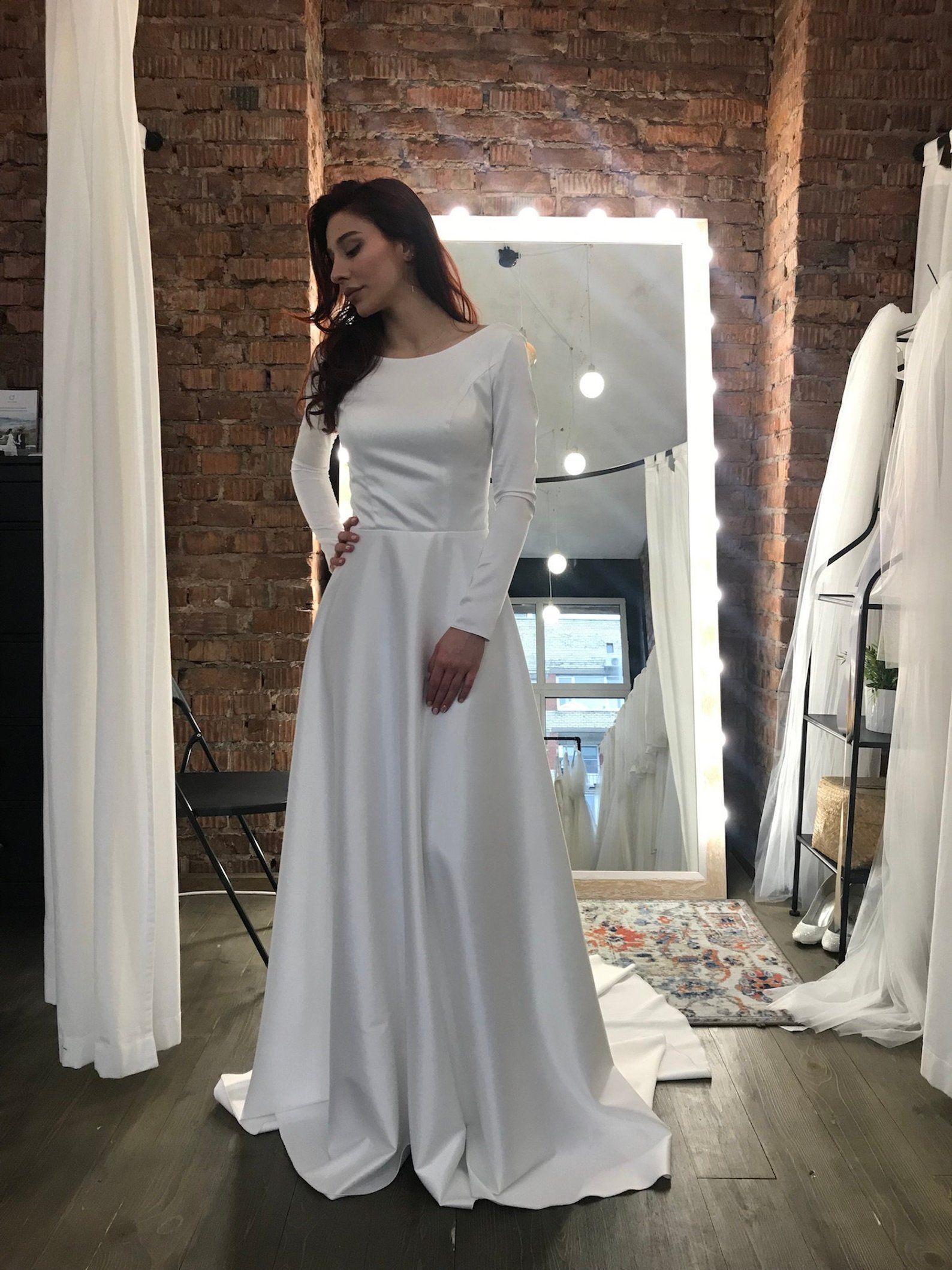 Long Sleeve Wedding Dress Satin Open Back Wedding Dress Etsy Wedding Dress Long Sleeve Wedding Dresses Satin Long Sleeve Wedding Gowns [ 2117 x 1588 Pixel ]
