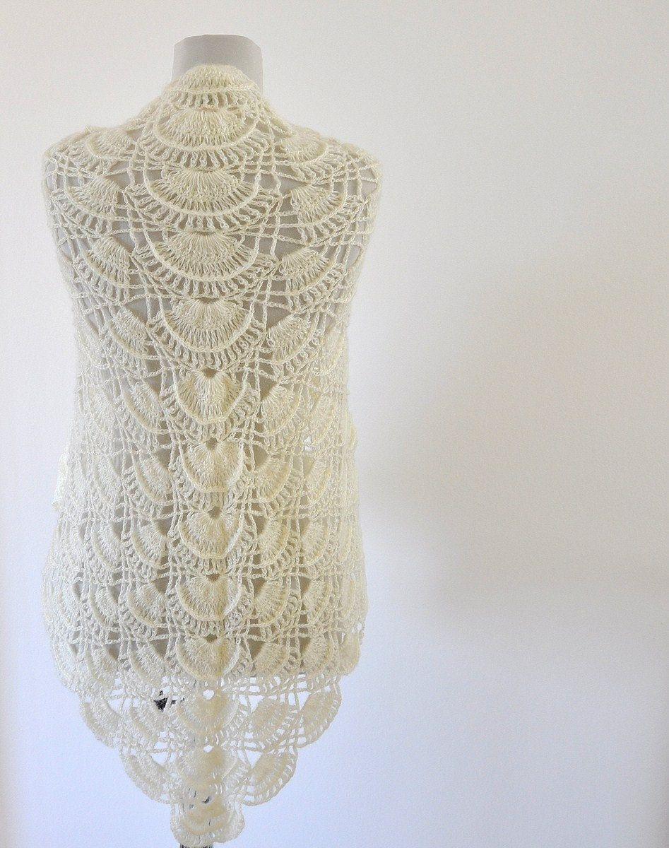 Crochet Shawl Weddings Shawl Ivory Mohair Unique Delicate Chic ...
