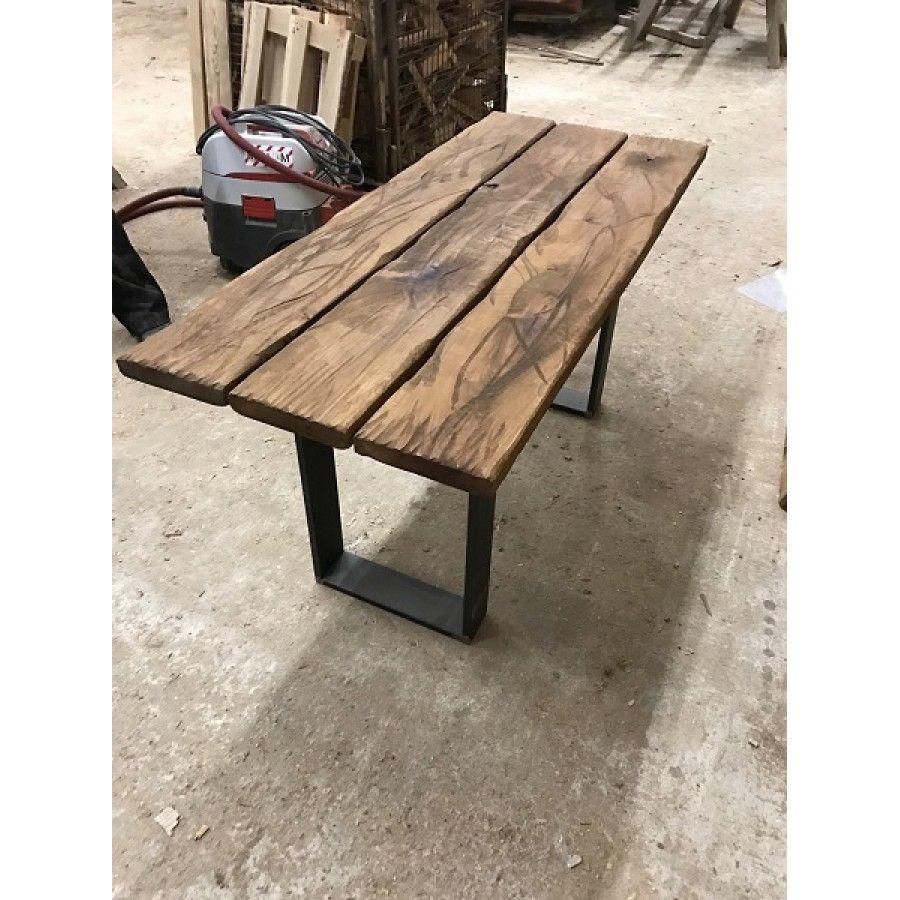 Baumscheibe Tischplatte Gartentisch Bohlen Eigenbau Eiche