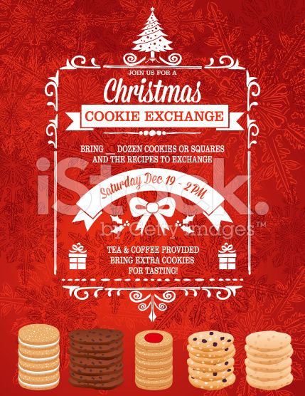 Christmas Cookie Exchange Party Invitation Template With Stacks Of