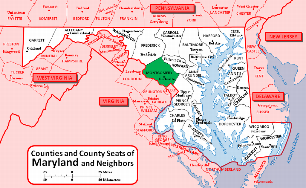 Montgomery County Maryland Map Find out where your Ancestors came