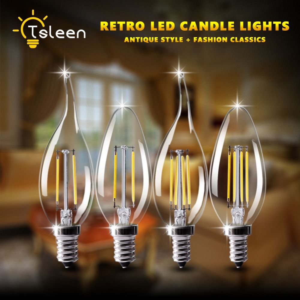 US$2 32 Feb only off TSLEEN Candle Filament LED Light