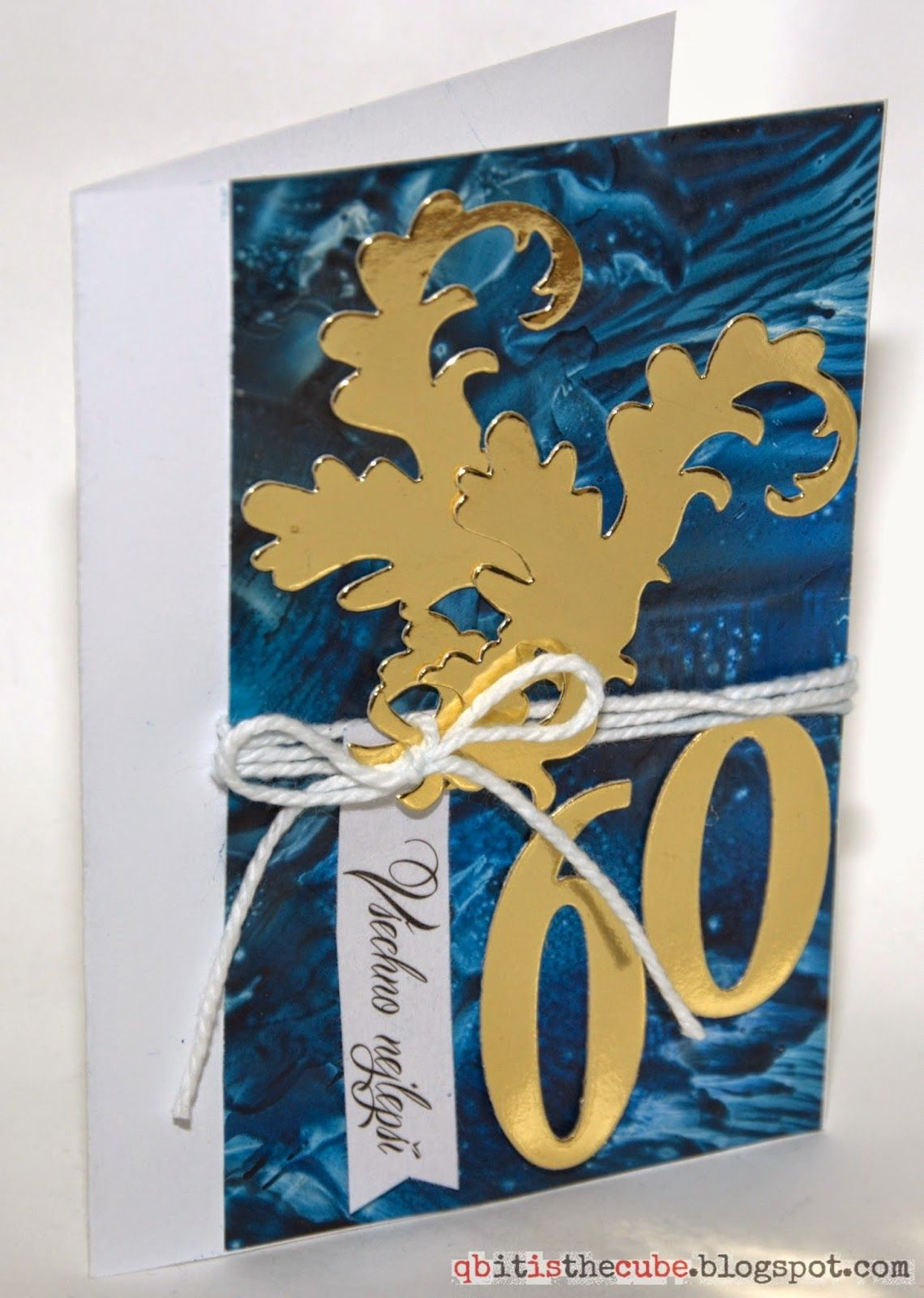 60th Birthday Card I Love Blue Gold White Combination Background