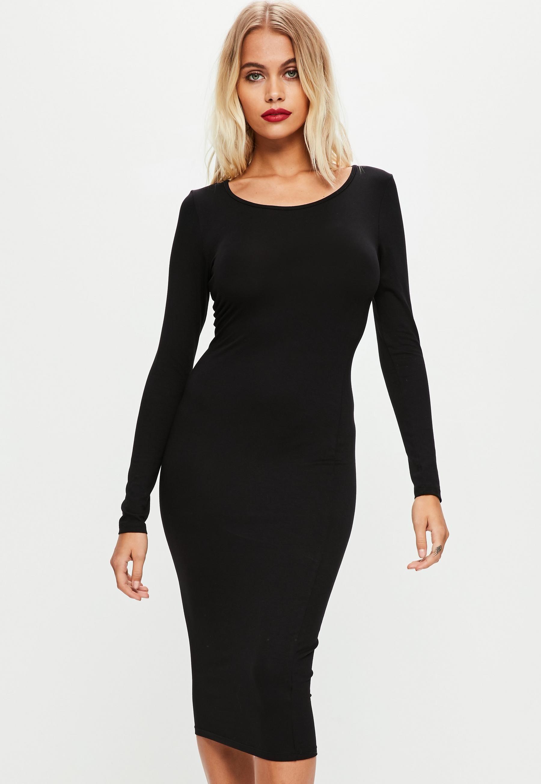 b8211f33a0584 Black Long Sleeve Plain Midi Bodycon Dress | Missguided | Clothes ...