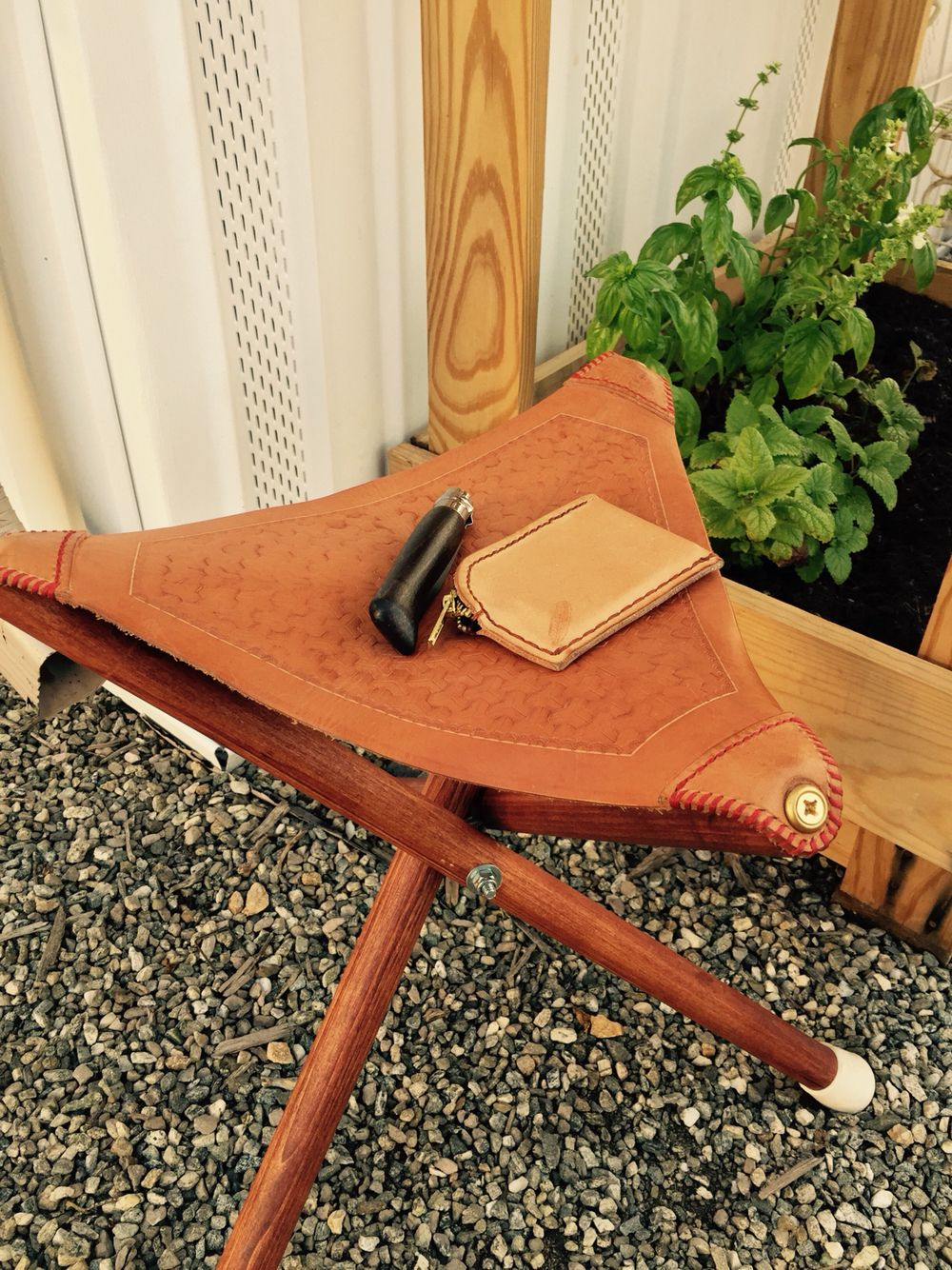 Everyday basics. Stool and wallet handmade by RedFeatherLeather. Knife mod by RedFeatherLeather.