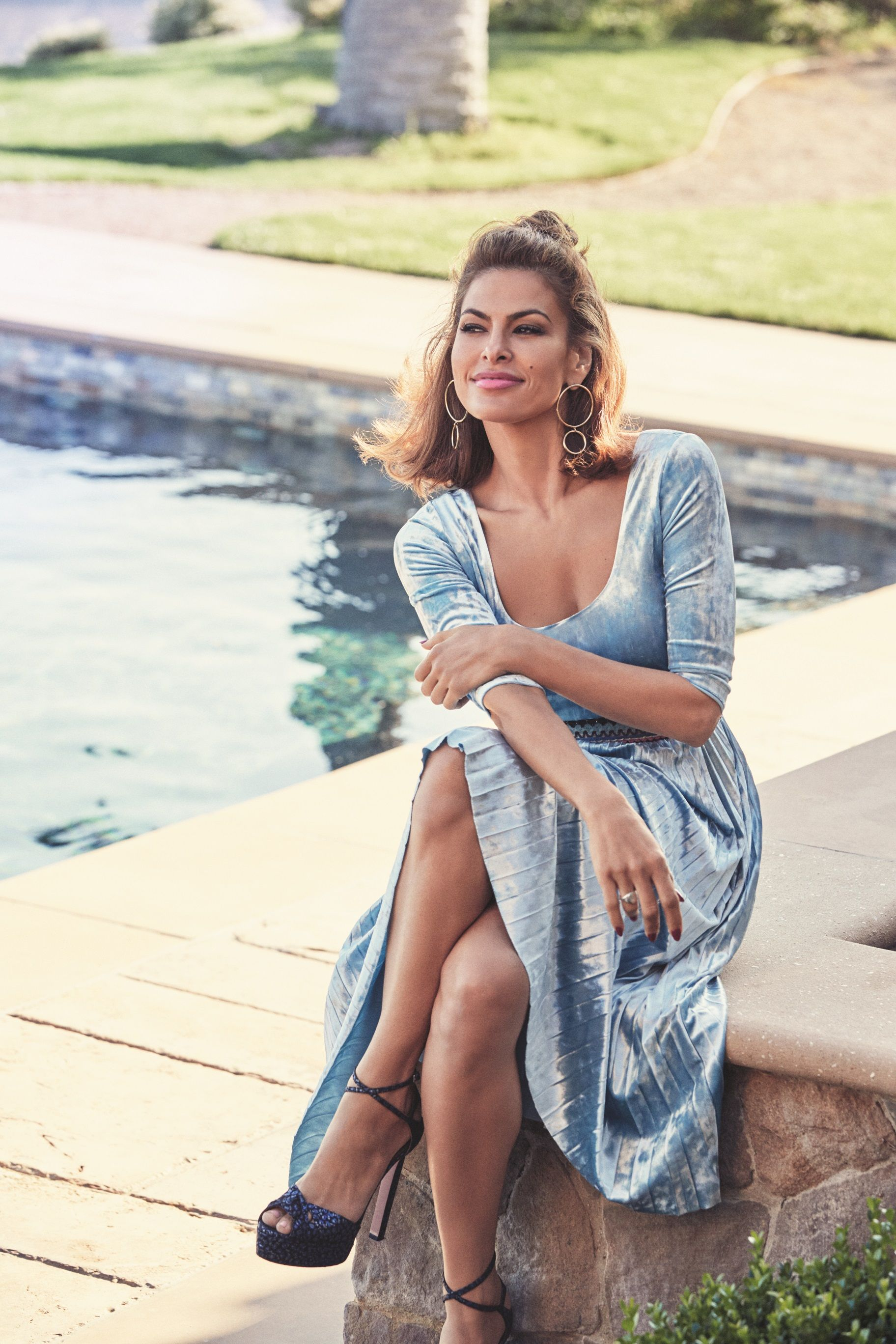 d662051dd Stunning style, and totally on trend: plush velvet creates a luxe effect on  Eva's Sosi Pleated Dress. From the exclusive Eva Mendes Collection.