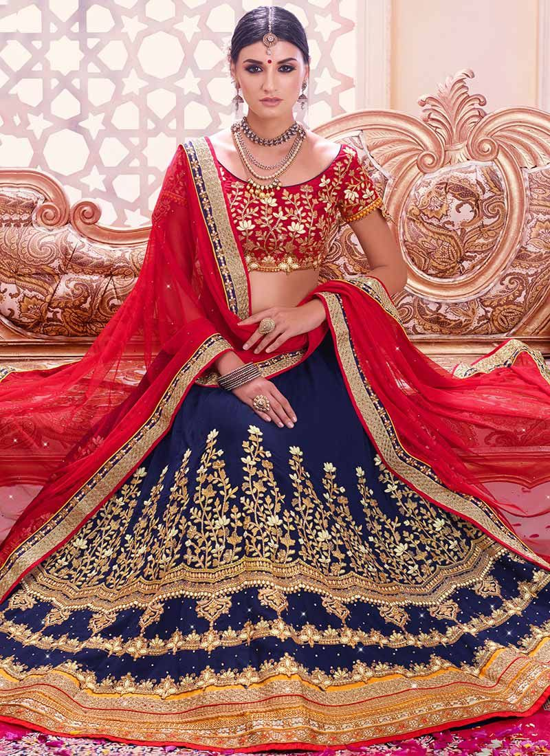 b032282fe4 Buy Navy Blue Embroidered Lehenga Choli online from the wide collection of  Lehenga. This Blue colored Lehenga in Faux Georgette, Net, Art Silk fabric  goes ...