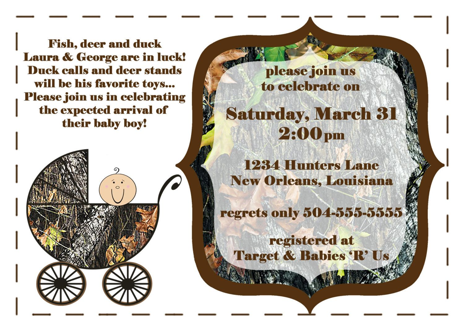 camouflage baby shower invites | Mossy Oak Camo with Baby Carriage ...