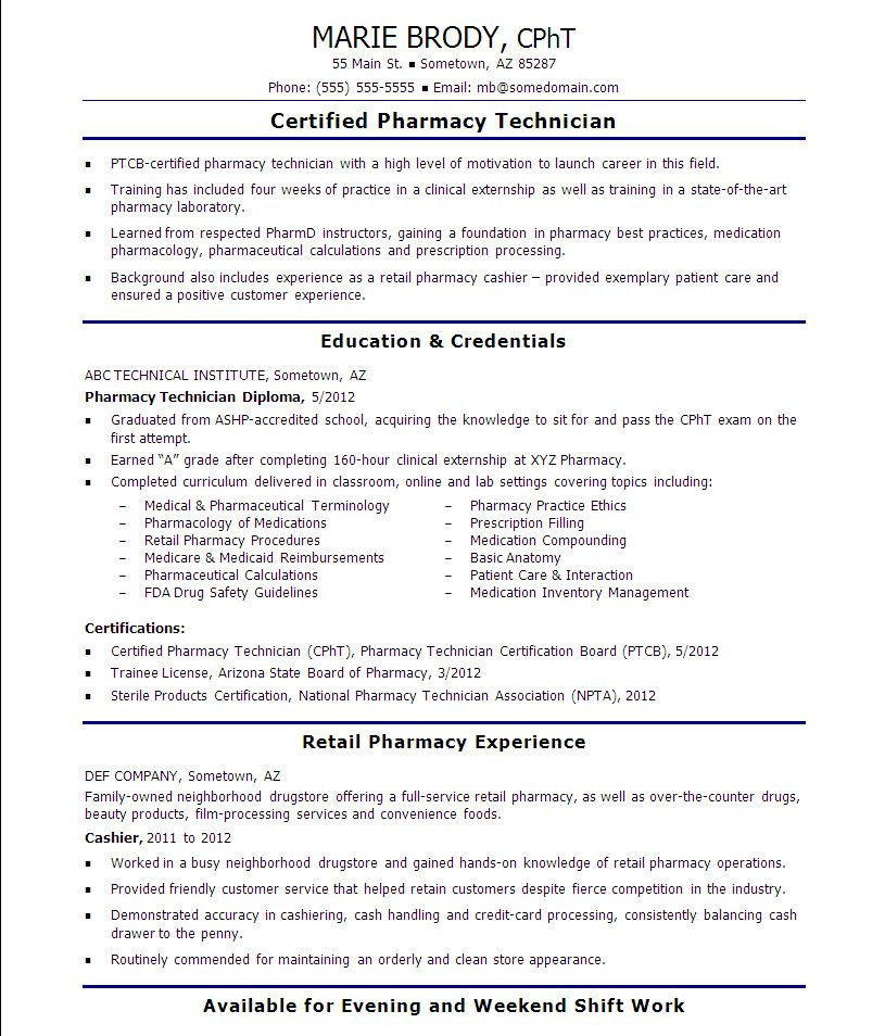 Pharmacy Technician Resume Objectives Newest 14 Pharmacy