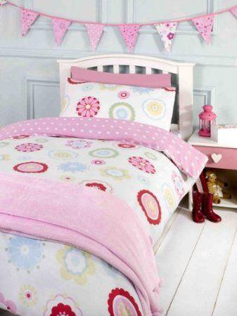 Amazon Com Kids Girls Twin Polka Dot Floral Pink Blue Cotton Duvet Quilt Cover Rh Childrens Bedding Cot Bed Duvet Cover Single Duvet Single Duvet Cover