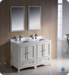 48 Inch Small Double Sink Bathroom Vanity In Antique White