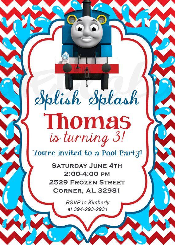 Thomas The Train Pool Party Birthday Invitation By Rachellola