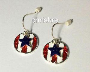 Red White Blue US Flag  Star Enamel Silver Earrings  Americana Gift USA Seller