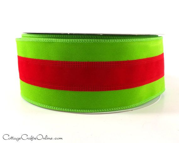 Cheery Red With A Grinch Green Stripe In The Center 2 1 2 Wide With A Wired Edge In The Velvet Textur Christmas Wired Ribbon Christmas Ribbon Wired Ribbon